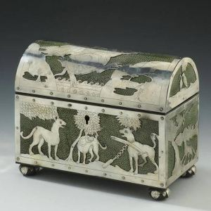 ANTIQUE SHAGREEN AND SILVER TEA CADDY WITH AESOPS FABLES