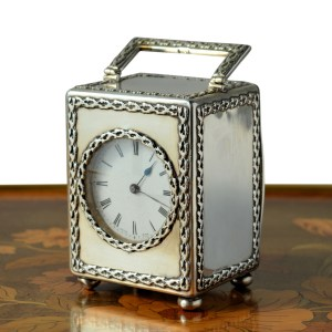 ANTIQUE MAPPIN & WEBB MINIATURE SILVER CARRIAGE CLOCK