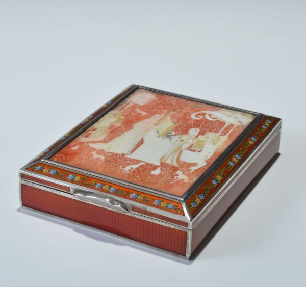 FINE SILVER GILT SCARLET AND HAND PAINTED GUILLOCHE ENAMEL BOX WITH PAINTED AND ETCHED IVORY SCENES