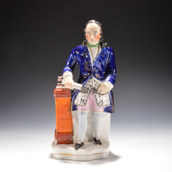 ANTIQUE STAFFORDSHIRE FIGURE OF BENJAMIN FRANKLIN