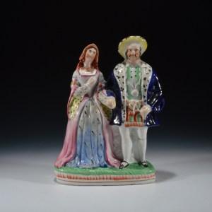 ANTIQUE STAFFORDSHIRE FIGURE OF HENRY VIII & ANNE BOLEYN