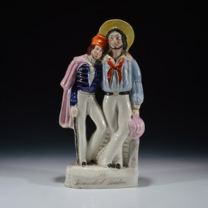 ANTIQUE STAFFORDSHIRE FIGURE OF THE WOUNDED SOLDIER
