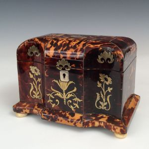 ANTIQUE BRASS INLAID TORTOISESHELL TEA CADDY