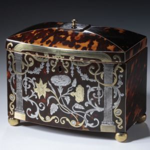 RARE ANTIQUE BOW FRONTED INLAID TORTOISESHELL TEA CADDY