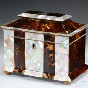 RARE ANTIQUE TORTOISESHELL AND MOTHER OF PEARL TEA CADDY