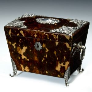 ANTIQUE TORTOISESHELL AND SILVER TEA CADDY