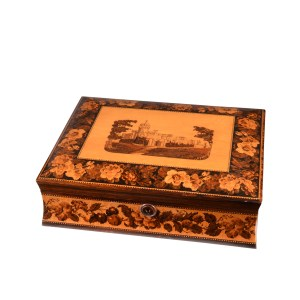 ANTIQUE TUNBRIDGE WARE GAMES BOX