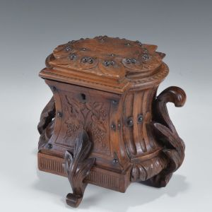ANTIQUE CONTINENTAL WALNUT TOBACCO BOX