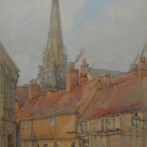 GEORGE DE PARIS WATERCOLOUR TOWN SCENE CHICHESTER