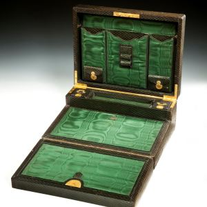 ANTIQUE GREEN LEATHER WRITING BOX