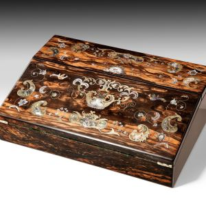 ANTIQUE COROMANDEL INLAID WRITING SLOPE