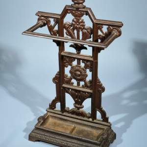 ANTIQUE COALBROOKDALE WROUGHT IRON STICK STAND