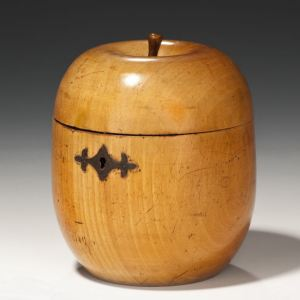 ANTIQUE FRUITWOOD APPLE TEA CADDY