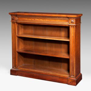 ANTIQUE 19TH CENTURY WALNUT OPEN BOOKCASE