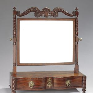 ANTIQUE REGENCY MAHOGANY SERPENTINE BOX BASE DRESSING MIRROR