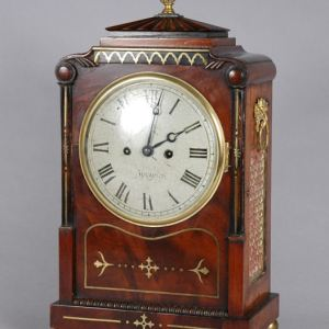 ANTIQUE REGENCY MAHOGANY STRIKING BRACKET CLOCK
