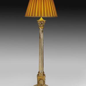 ANTIQUE BRASS CORINTHIAN COLUMN STANDARD LAMP