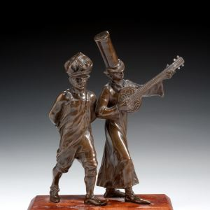 ANTIQUE BRONZE OF TWO MUSICIANS NEW ORLEANS