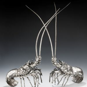 MAGNIFICENT AND EXCEPTIONALLY RARE PAIR OF SILVER BUCCELLATI LOBSTERS