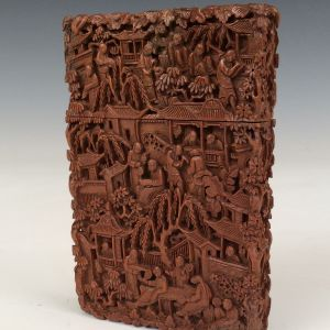 19TH CENTURY CHINESE DEEP CARVED WOOD CARD CASE