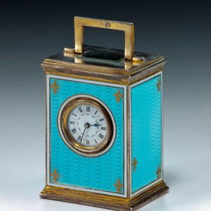 ANTIQUE GUILLOCHE ENAMEL AND SILVER CARRIAGE CLOCK