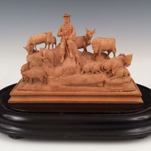 ANTIQUE SWISS CARVED GROUP OF ANIMALS CATTLE SHEEP GOATS