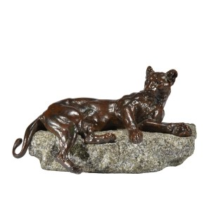 CHARLES VALTON ANTIQUE BRONZE RECLINING LIONESS