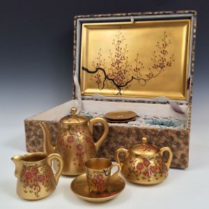 ANTIQUE CHINESE CARVED TURNED GILT WOODEN TEA SET