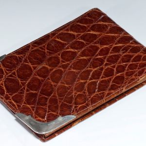 VINTAGE CROCODILE WALLET WITH SILVER MOUNTS