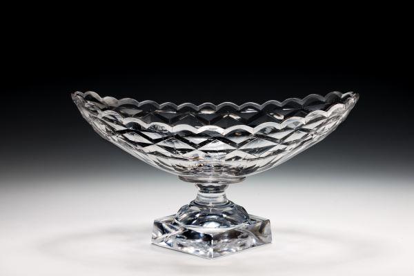 ANTIQUE IRISH BOAT SHAPED GLASS BOWL