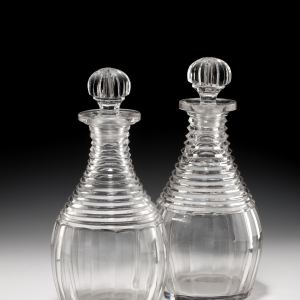 PAIR OF ANTIQUE GLASS DECANTERS