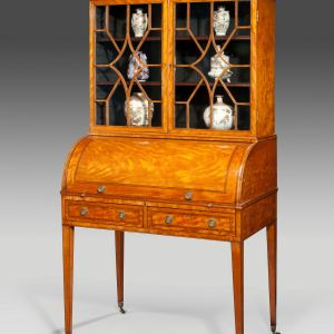 ANTIQUE SHERATON SATINWOOD CYLINDER DESK WITH DISPLAY CABINET