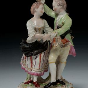 ANTIQUE DERBY FIGURE TWO DANCERS