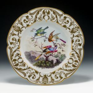 ANTIQUE DERBY PORCELAIN KING STREET PLATE SIGNED W M MOSLEY