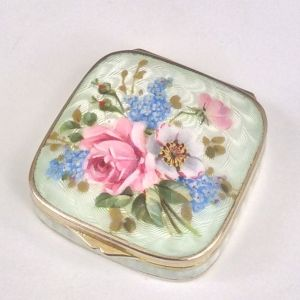 ANTIQUE ENAMEL AND SILVER PILL BOX