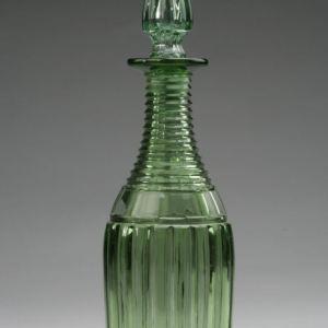 ANTIQUE GREEN CUT GLASS DECANTER