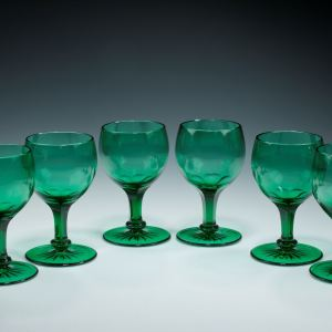 ANTIQUE SET OF SIX GREEN GOBLETS