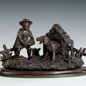 ANTIQUE BRONZE INKWELL WITH CHILD & DOG