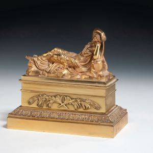 ANTIQUE GILT BRONZE INKWELL WITH CLASSICAL WOMEN