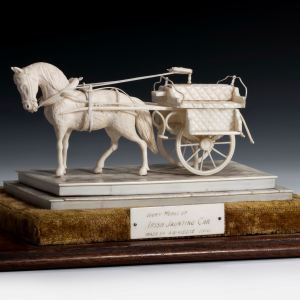 ANTIQUE IVORY MODEL OF IRISH JAUNTING CAR BY KIDDIE