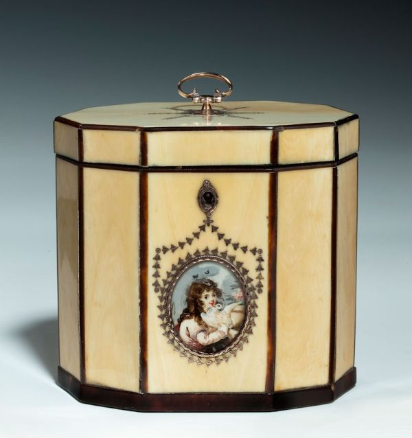 RARE ANTIQUE DECAGONAL IVORY TEA CADDY