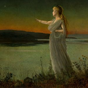 JOHN ATKINSON GRIMSHAW-OIL PAINTING-ARIADNE AT NAXOS