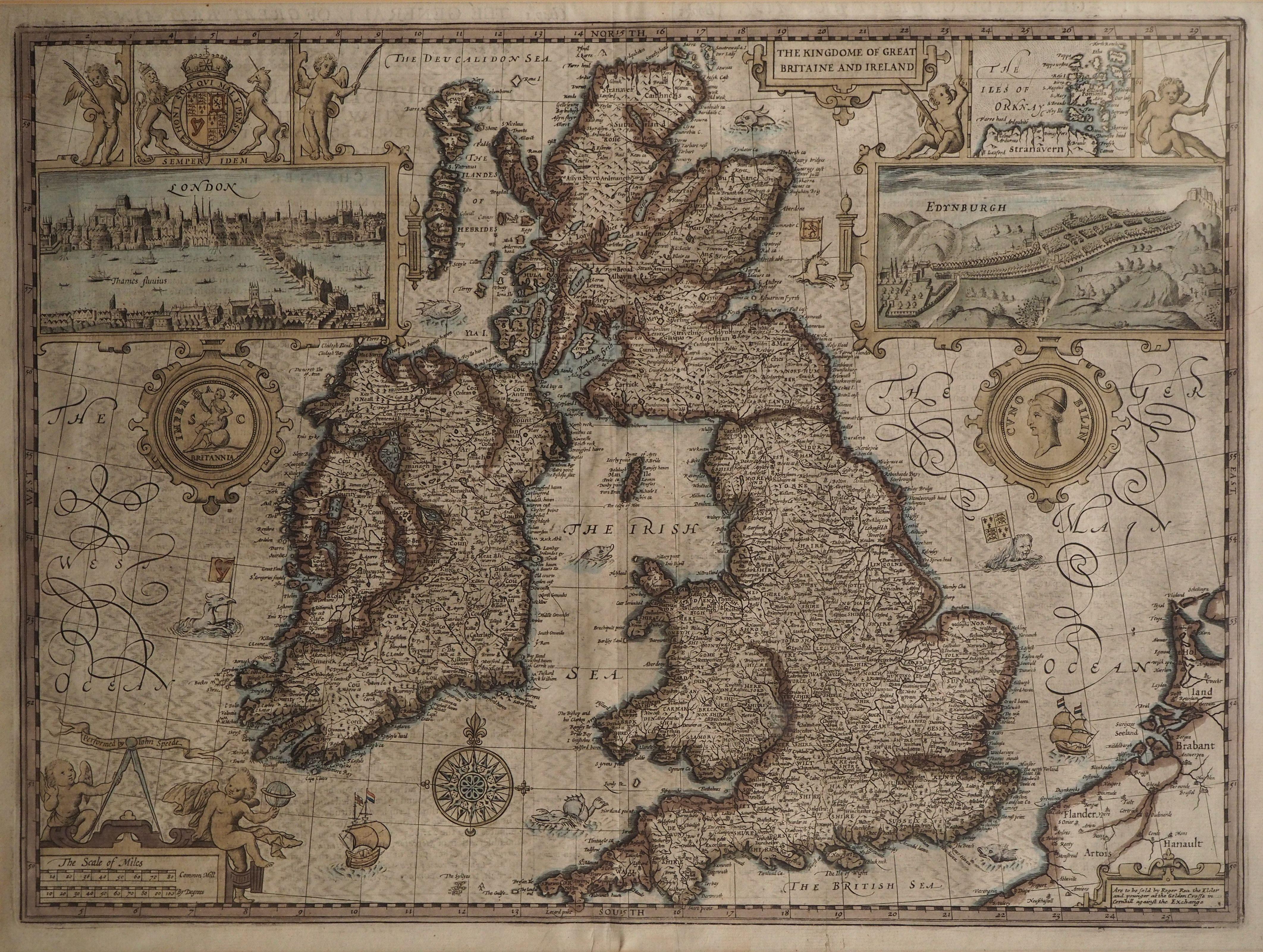 John Speed Map Of Ireland.Antique John Speed Map Of Great Britain Ireland