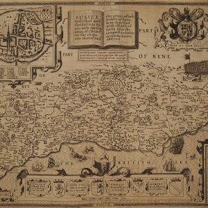 ANTIQUE JOHN SPEED MAP OF SUSSEX
