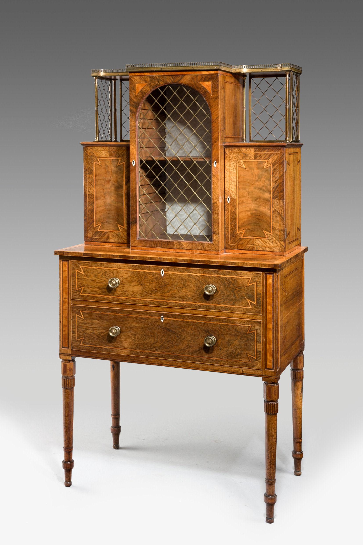 Antique regency rosewood ladies secretaire display cabinet for Antique display cabinet
