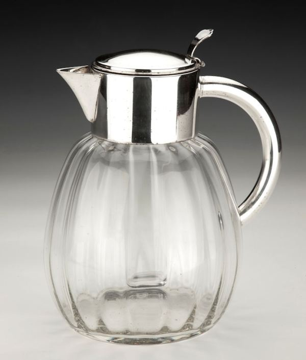 ANTIQUE GLASS AND SILVER PLATE LEMONADE JUG