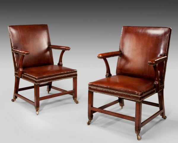 ANTIQUE PAIR OF MAHOGANY & LEATHER LIBRARY ARMCHAIRS