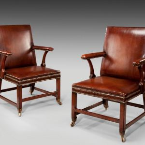 ANTIQUE PAIR OF MAHOGANY   LEATHER LIBRARY ARMCHAIRSChairs Archives   Richard Gardner Antiques. Antique Library Armchairs. Home Design Ideas