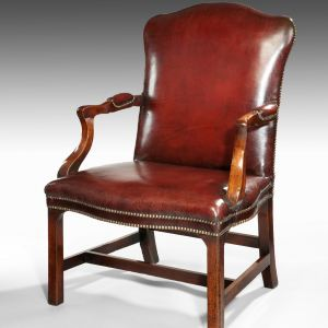 ANTIQUE GAINSBOROUGH STYLE MAHOGANY & LEATHER DESK CHAIR
