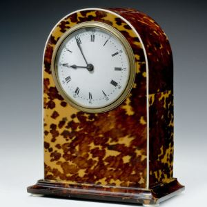 ANTIQUE TORTOISESHELL DOME TOPPED MANTEL CLOCK